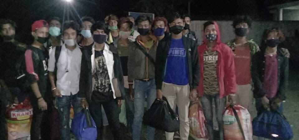नेपाल रानाथारु समाजको पहलमा लकडाउनमा फसेका १९ जनालाइ घरपठाइयाे